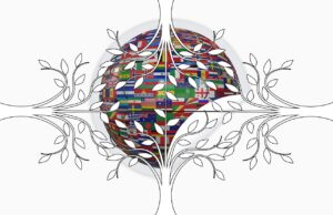 A globe made of flags surrounded by four trees