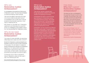 Leaflet on being a restorative justice ambassador