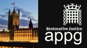 Restorative Justice All Party Parliamentary Group logo and the Houses of Parliament