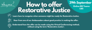 How to offer Restorative Justice event banner